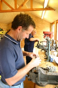 Two students working on Sturmey Archer hubs