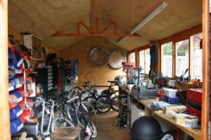 The partly tidied Colwood Wheelworks workshop