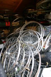 Storeroom full of bicycle wheels